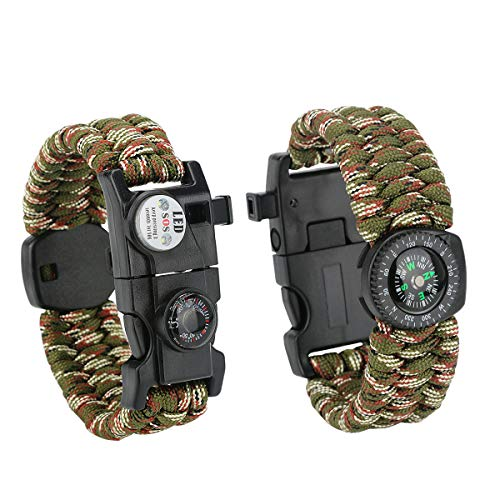 Ertisa 2 Pcs Paracord Survival Bracelet 21 in 1 Multifunction Waterproof Emergency Survival Gear Wristband with LED SOS Light, Compass, Thermometer, Rescue Whistl, Fire Starter for Hiking Camping