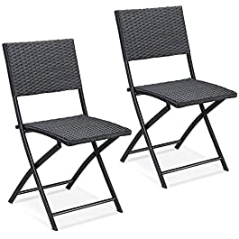 CASARIA Set de 2/4 chaises Pliantes 'Rome' Max. 120kg polyrotin 43x49x81cm Noir Fauteuil Chaise de Jardin Confortable au…