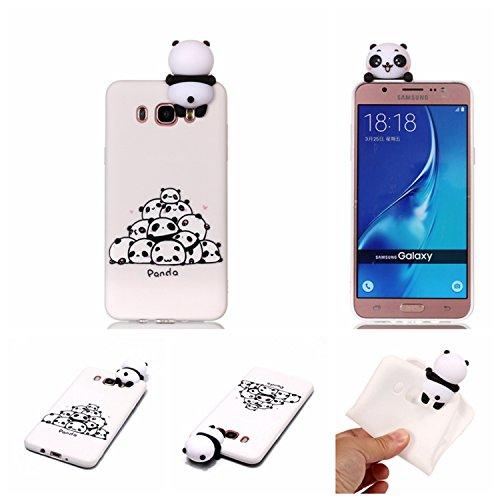 HopMore Funda para Samsung Galaxy J7 2016 Silicona Motivo 3D Divertidas Unicornio Panda Bonita TPU Gel Ultrafina Slim Case Antigolpes Cover Protección Carcasa Dibujo Gracioso - un montón de Pandas