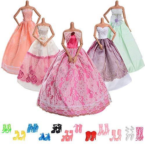 Asiv 17 Stück Mode Urlaubstag Kleidung Kleider für Barbie Puppen Doll, 5 Partymoden Hochzeit Prinzessin Kleider + 12 Paar Schuhe für Weihnachten und Geburtstag Geschenk