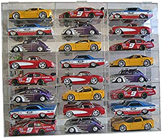 Clear Acrylic Display Case Wall Cabinet for 1:24 Scale Toy Cars/Wheels, 24 Compartments, Hot-AHW24