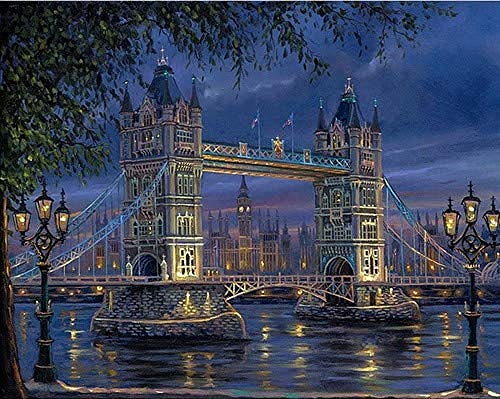 Pintar Por Números Niños Adultos London Tower Bridge 40X50