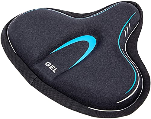 YBEKI Funda para Asiento De Bicicleta Estática, Cómodo Cojín Grande para Silla De Bicicleta Relleno De Gel y Espuma De Alta Densidad, Cojín para Silla De Bicicleta Más Elástico y Suave (Azul)