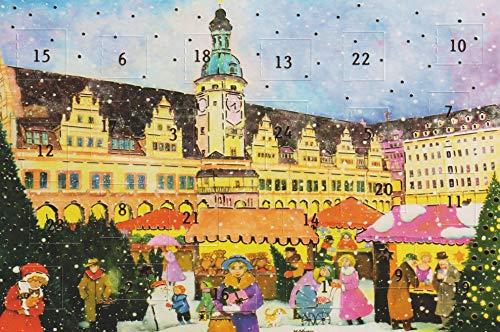Adventskalender Karten 5 Stück Karten Leipzig Weihnachten Grußkarten Goldprägung Adventkarte Kunstkarte Retro Nostalgie Vintage