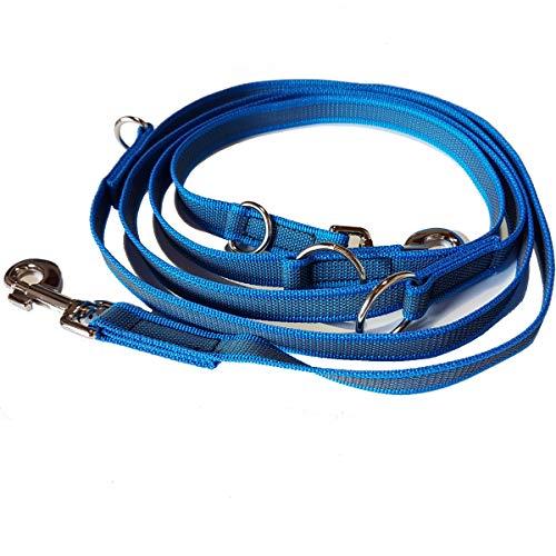 Activity4Dogs Hundeleine Nylon Anti-Slip rutschfest, 2,80 m lang, 4-Fach verstellbar, Multileine, für mittelgroße und große Hunde, in Mehreren Farben lieferbar, Made IN Germany (2,80 m, blau)