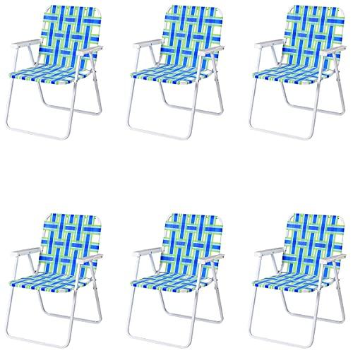 GOPLUS 6er Set Klappstuhl, Gartenstuhl mit Armlehne, Campingstuhl aus Stahl & Gurte-Sitzfläche, Klappsessel in Kariertem Motiv, bis zu 120 kg Belastbar, für Balkon Garten Terrassen (Blau)