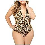 SatinGold Leopardenmuster Erotik Badeanzug, Damen Babydoll Sexy Swimsuit Pyjama Jumpsuit in Große Größen, Schlafanzüge Schlafhemden Reizwäsche