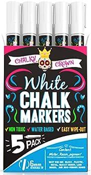 Liquid Chalk Marker Pen - White Dry Erase Marker - Chalk Markers for Chalkboard Signs Windows Blackboard Glass - 6mm Reversible Tip  5 Pack  - 24 Chalkboard Labels Included