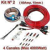 KIT 2 - Kit de instalación, juego de cables para instalar amplificadores de sonido y etapas de potencia