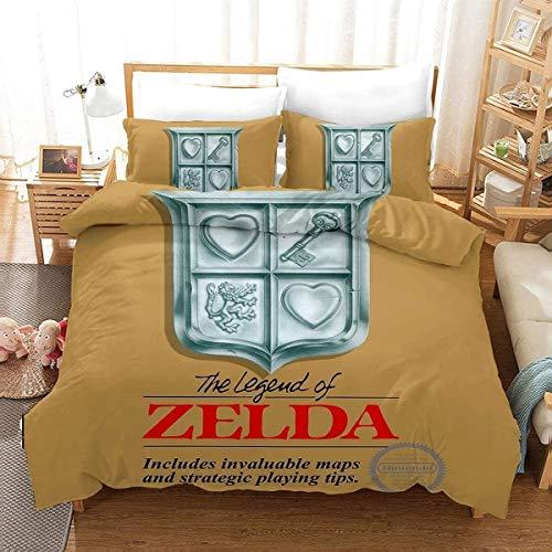 QWAS La leyenda de Zelda Fantasía 3D, funda nórdica y ropa de cama infantil, adecuada para todas las estaciones (V07,220 x 240 cm + 50 x 75 cm x 2)