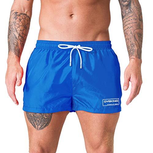 POHOK Board Shorts for Men Men Spring Summer Trunks Quick Dry Beach Surfing Running Swimming Short Pant Vacation (XL,Blue