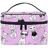 Cat Ladies and Gentlemen Women Travel Makeup Bag Portable Cosmetic Train Case Toiletry Bag Beauty...