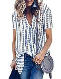 WLLW Women Bohemian Short Sleeve V Neck Floral Print Peplum Shirt Top Blouse Tee (M, 3Blue)