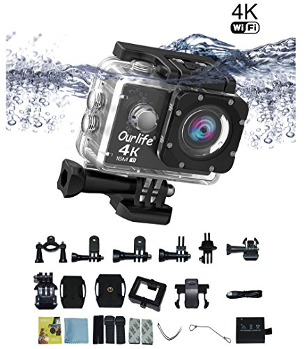 4K 30fps Action Cam Sport Cam Ourlife 2.0 Pollici Schermo Wifi Impermeabile fotocamera sport d'azione 170° Angolo di Visione