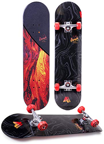 Arcade Pro Skateboard 31quot Standard Complete Skateboards Professional Complete Board w/Concave  Skate Boards Great for Beginners Adults Teens Youth amp Kids 775quot Lava Flow