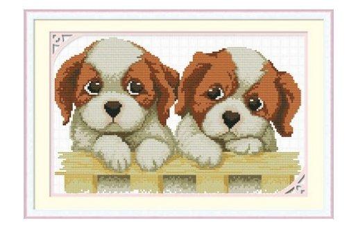 Monalisa Stamped Cross Stitch- Two Doggies