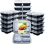 Enther Meal Prep Containers with Lids 20 Pack 3 Compartment Food Storage Bento Lunch Box BPA Free, Reusable, Microwave/Dishwasher/Freezer Safe, 24oz Black Small