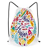 Unisex Yoga Cinch Sack Drawstring Bags Hawaii Islands Map and Tourist Attractions Symbols and Ukulele Hula Dancer Waterproof Backpack Sports Gym Bag Casual Daypack