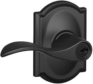 Schlage F51-ACC-CAM Accent Single Cylinder Keyed Entry Door Lever Set with Decor, Matte Black