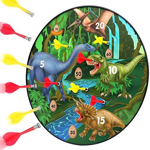 BETTERLINE Dinosaurier Magnet-Dartboard Set – 16 Zoll Dartscheibe mit 6 Magnetpfeilen für Kinder und Erwachsene, Geschenk für Spielzimmer, Büro, Männerhöhle und Zuhause
