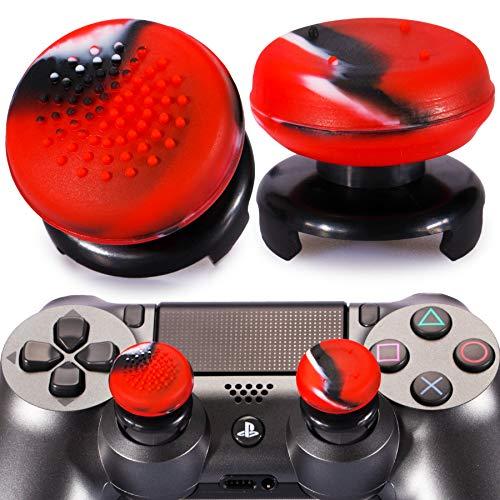 Playrealm FPS Thumbstick Grip Agarres para el Pulgar Extensor Y Textura 3D Caucho Silicona Apretón Cubrir 2 Juegos para PS5 Dualsenese y PS4 Mando (Camuflaje Rojo)