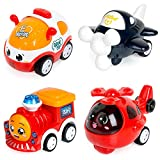 ZWOOS Juguete Coches, 4 Coches Tire hacia Atrás el Coche de Juguete para bebés 1 2 3 4 años de...