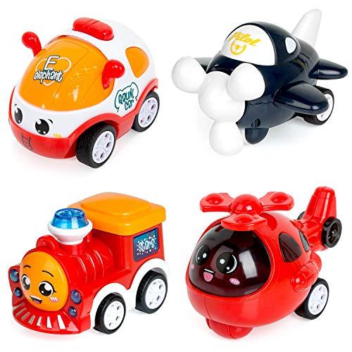 ZWOOS Juguete Coches, 4 Coches Tire hacia Atrás el Coche de Juguete para bebés 1 2 3 4 años de Edad