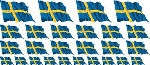 Miniklistermärke packviftande – 4x 51x31 mm + 12 x 33 x 20 mm + 10 x 20 x 12 mm – självpinne – Sverige – självhäftande – flaggdekaler – för bil, kontor och hem – set med 26