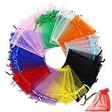 Sacchetti Organza, INTVN Drawstring Gift Bags Sacchetti Regalo Organza Borse Gioielli Sacchetto di Caramelle, 200 Pezzi, Multicolori
