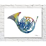 French Horn Watercolor Band Music Art Print by Artist DJ Rogers