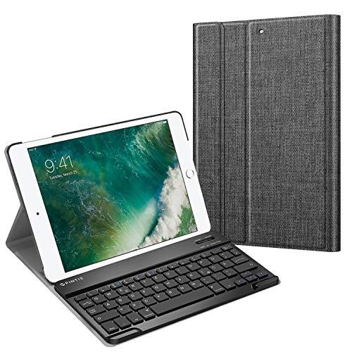 Fintie Tastatur Hülle für iPad 9.7 Zoll 2018 2017 / iPad Air 2 / iPad Air - Ultradünn Schutzhülle Keyboard Case mit magnetisch Abnehmbarer drahtloser Deutscher Bluetooth Tastatur, Denim dunkelgrau