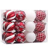 Valery Madelyn 24pcs 7cm Boules de Noël, Décoration Traditionnelle d'ornements de Boule de Noël Rouge et Blanc...