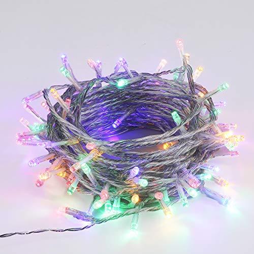 SYCEES Nastro Catena Luci 200 LED 4 Colori 23M Stringa Luci Interno 8 Effetti di Lampeggio/Funzione Memoria IP44 /Luce Feste Natale Matrimonio Giardino Patio Mostra Vetrina