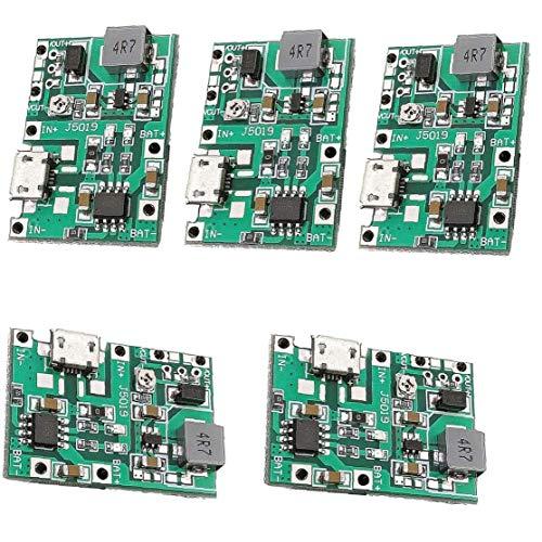Odoukey Cargador Módulo 2A 18650 de Carga del módulo de Litio Li-Ion módulo de batería Boost 3.7V a 5V 9V 5PCS