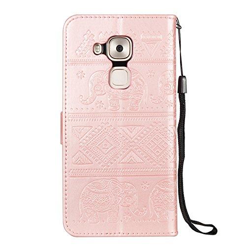 kompatibel mit Huawei Nova Plus Hülle,Huawei Nova Plus Lederhülle Schutzhülle Leder Tasche Flip Case,Prägung Elefant PU Leder Brieftasche Flip Hülle Kunstleder Wallet Tasche Cover,Rose Gold - 3