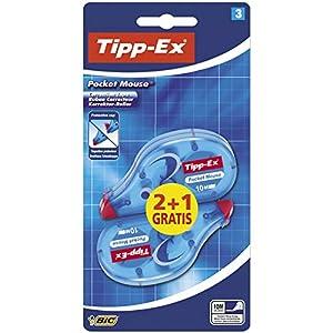 Tipp-Ex Pocket Mouse Cinta Correctora, No necesita Secado– 10 m x 4,2 mm, Blíster de 3 Unidades, Cinta blanca, para…