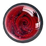 Gbziyjk Tiradores de cajón para decoración de Armario de Cocina de Oficina en casa,Arte Flor Rosa Gota de Agua