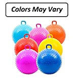Kicko 1 Bouncy Knobby Ball with Handles 36 Inches Tall - 3 Feet High When Inflated - for Kids Teens and Adults - Assorted Colors, Colors May Vary, Sold Deflated