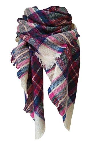DELEY Retro Weiches Plaid Tartan Herbst Winter Schals Oversized Lange Stola Wrap Deckenschal Mehrfarbig-2