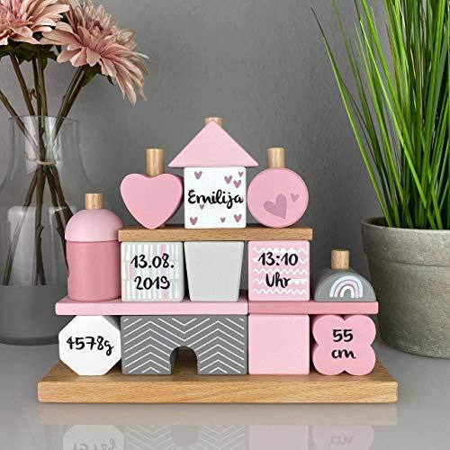 """Geschenk zur Geburt Mädchen\""""Steckspiel Haus\"""" rosa - bedruckt personalisierbar - Stapelturm mit Name & Geburtsdaten"""