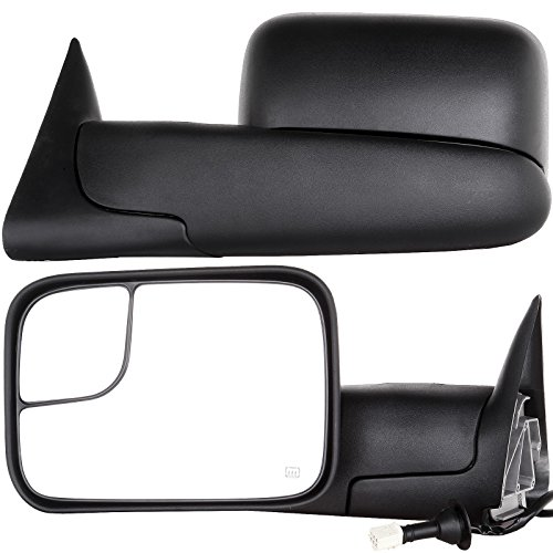 OCPTY Towing Mirrors with Power Heated Left Right Side Tow Mirrors Compatible with 1998-2001 for Dodge Ram 1500 1998-2002 for Dodge Ram 2500 3500 with Black Housing with Mounting Brackets