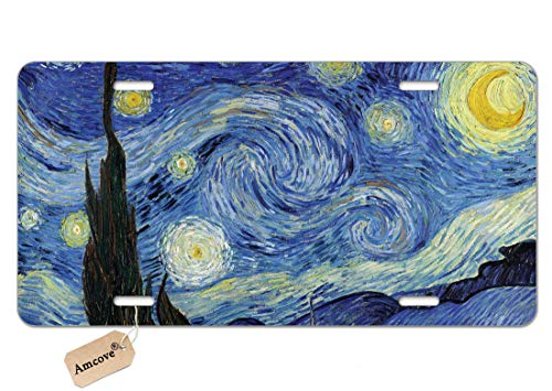 Amcove Custom License Plate Front Car Tag, Aluminum - Van Gogh Starry Night, 6 X 12 Inch (4 Holes)