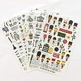 BLOUR 6 Hojas London Pairs Travel Journal Stickers Set Mini Soldier Scenic Spots Sticker DIY Decoración Diario Álbum Regalo para niños F412