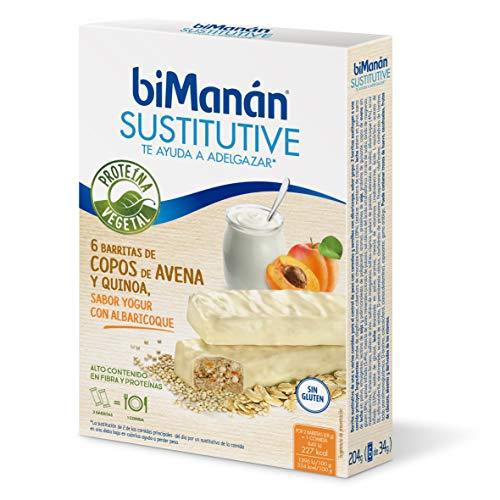 biManán - Vegetal - Sustitutivos para Adelgazar - Barritas avena y quinoa sabor yogur con albaricoque - 6uds 204 gr