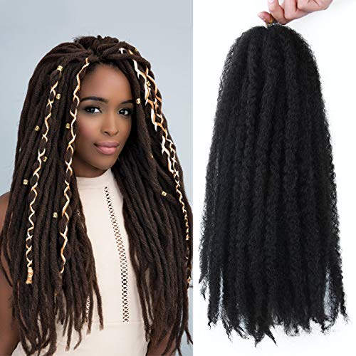 Marley Hair 4 Packs Afro Kinky Curly Crochet Hair 18 Inch Long Marley Twist Braiding Hair Kanekalon Synthetic Marley Braids Hair Extensions for Women Color 1b