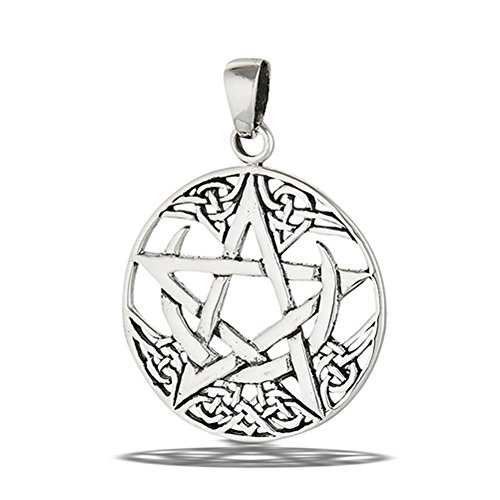 Pentagram Celtic Pendant .925 Sterling Silver Knot Star Circle Crescent Charm