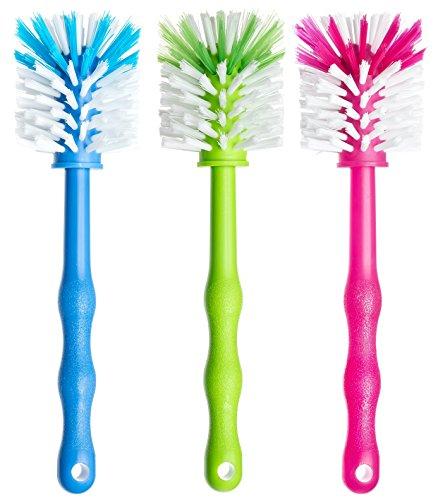 Deine Bürste 3er Pack Spülbürste für Mixbehälter - Reinigungsbürste perfekt geeignet zum Reinigen von Küchenmaschinen mit Mixbehältern, Standmixer, u.v.m. Zubehör (1x Blau/ 1x Grün/ 1x Pink)