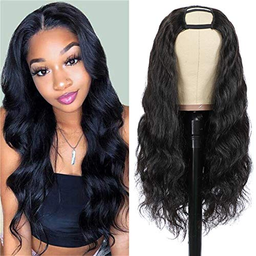 Nvnvdij U Part Wigs Body Wave Brazilian Virgin Human Hair 2''x 4'' U Shape Glueless Wigs 150% Density Natural Black Color With Straps Combs For Black Women (18 Inch, Body Wave)