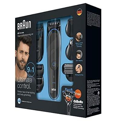 Braun 9-in-1 Precision Trimmer with Gillette Fusion ProGlide Razor MGK3080, Black/Blue