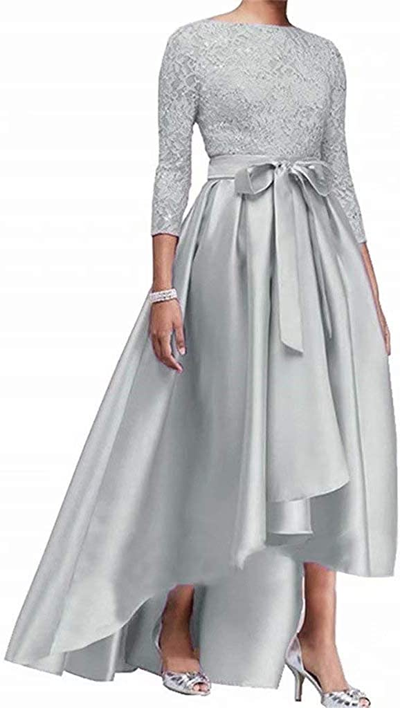 Women's Satin Lace 3/4 Sleeve Hi-lo Mother of The Bride Dresses Evening Formal Gowns Plus Size
